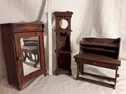 Antik fa játék baba bútor - szoba berendezés