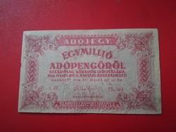 1946-os 1 Millió Adópengő FORDÍTOTT CÍMER