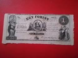 1852-es 1 Forint H széria ÍVSZÉLES Kossuth Bankó emigrációs