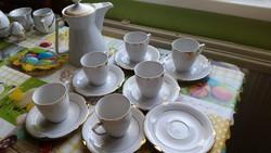 Antik porcelán kávés készlet kiöntővel.Aranyszélű, gyönyörű Bavaria!