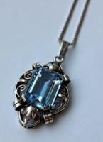 Antik akvamarin köves medál és nyaklánc | .835 ezüst