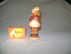 Régi kerámia kislány figura, nipp - jelzett