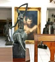 Ülő női akt - art deco bronz szobor