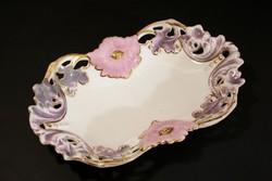 1840-50 Dallwitz Majolika Áttört Virágos Tál Kínáló Asztalközép Porcelán Fajansz Sarreguemines