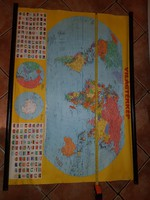 Nagy, vászon világtérkép, retro, 78x114