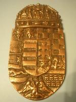 N11 Magyar korona címeres fém bronzírozott akasztós plakett eladó 14.5 x 8 cm