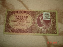 Tízezer pengő-1945 évi-bélyeggel