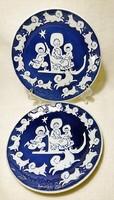 ROYAL COPPENHAGEN MORS DAG 1974  mázba nyomott felirat. Kék mázas,dombor fehér mázas svéd fali tányé
