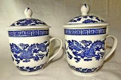 2 db keleti kék festett sárkányos díszítésű és szögletes nyomott jelzésű  3 dl-es fedeles porcelán