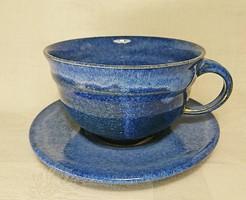 Hibátlan új állapotú,szépséges tenger kék mázas nem használt,  O,5 l -es teás csésze szett.