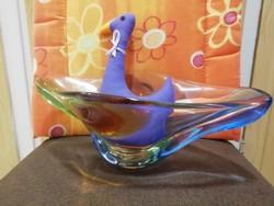 19596H Bohemia csehszlovák művészi üveg gyümölcsös tál