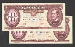 100 forint 1992.   2 db sorszám követő!!  UNC!!