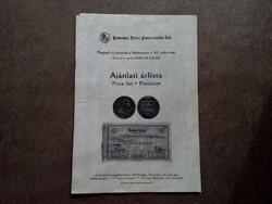 Ajánlati árlista - Pannonia Terra Numizmatika Kft. 8. aukció 2000./id 7289/