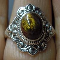 925 ezüst gyűrű, 19,7/61,9 mm  pieterzittel (viharkővel)
