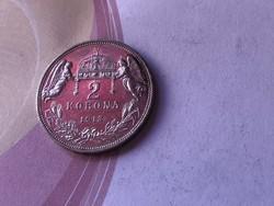 1913 magyar ezüst 2 korona gyönyörű verdefényes darab
