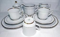 WINTERLING RÖSLAU BAVARIA Rózsa dombor mintás aranyperemes 2 személyes reggeliző szett+1 pót csésze