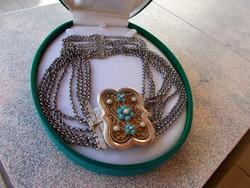 Antik tízsoros ezüst nyaklánc drágakövel és gyönggyel 112gr,800 fin.