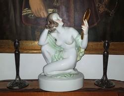 Óriási 39cm Herendi Női Akt tükörrel és zöld lepellel I.oszt.darab!