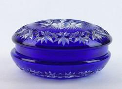 0J692 Kék színű csiszolt kristály bonbonier