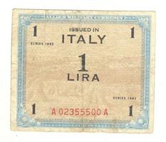 """1 lira 1943 """"F"""" nélkül Olaszország"""
