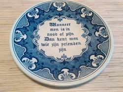 Holland Delft fali dísz tányér