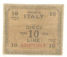 """10 lira 1943 """"F""""-el Olaszország"""