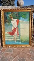 AKT, NIMFA, vászon, olaj festmény, tájkép, gyümölcsfűzéres képkeret, antik