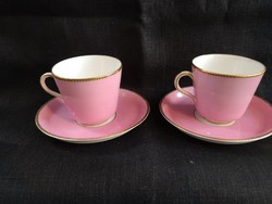 Csodaszép antik rózsaszín porcelán csészék párban