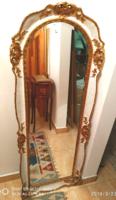 Antik barokk valódi fa keretes tükör 134 x 50 cm