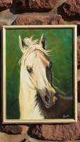 Korenika Iván: Ló, portré, olaj festmény, tanúsítvánnyal, modern fa képkeret