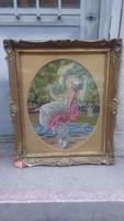 Üvegezett antik blondel képkeret falc 50x40,5 cm