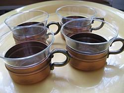4 db MASSIV KUPFER tartóban hőálló poharak