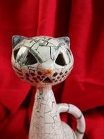Iparművészi retro kerámia macska/cica