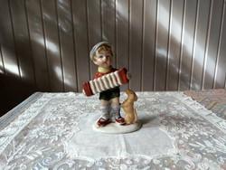 W&A Bertram porcelán figura, kisfiú harmónikával, kutyával