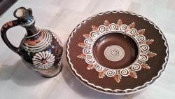 Festett kerámia fali dísz tányér és korsó