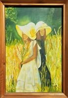 Fazekas jelzéssel / Két nő virágok között