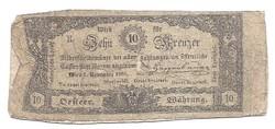10 ezüst Kraiczár ( Krajcár Kreuzer )  1860