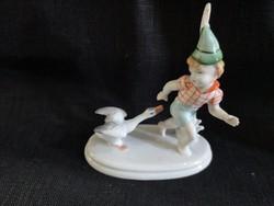 Metzler Ortloff kisfiú libával, hibátlan antik figura