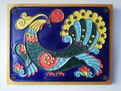 Gyönyörű orosz páva madaras tűzzománc kép 22x20 cm