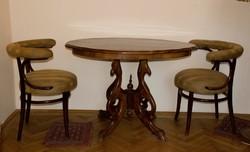 Poklabu asztal 2 db thonet szekkel