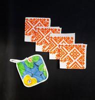 Retro textil szalvéták ajándék edényfogóval