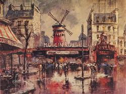 0M136 Párizsi nyomat : Moulin Rouge 16.5 x 20.5 cm