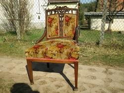Gyönyörű faragott háttámlás egyedi szecessziós fotel