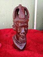 Antik Akrikai király szobor, 27 cm magas.