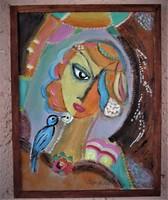 Lány madárral  / SeriKata festménye /