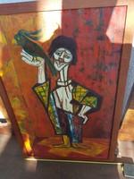 Bohóc papagájjal, nagy absztrakt, olaj, vászon, 54x84 keret, 50x80