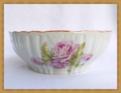 Gyönyörű nagy rózsás Zsolnay porcelán tál.