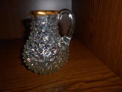 Bütykös huta üveg ,antik keresztelő kancsó