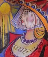 Scheiber H jelzéssel : Hölgy piros ruhában pasztell, 34x48 cm új keretben ÁRESÉS