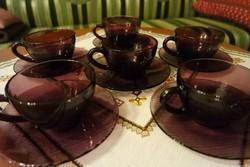Lila jénai teás, kávés csészék alátéttel (6 személyes)